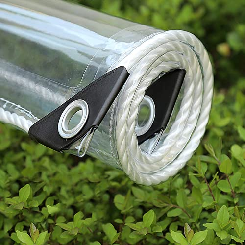 XIAOL Lona Transparente Impermeable con Ojales, Material de PVC Plegable Lona Alquitranada para Prueba de Rasgaduras, para Coverup Plantas de Jardines, Invernaderos, Muebles de Terraza