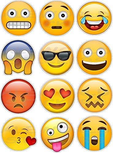 AWS Set di 12 magneti faccine Emoticons Smile per frigo Cappa ECC. Emoji Magnet dodici Calamite Smiley