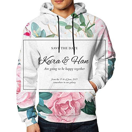 Cute Bi Botanische Hochzeits Einladungs Entwurfs Blasse Rosen Natur Laden Hoodie Sweatshirt Der Männer Zufällige Herbst und Winter Lange Hülsen EIN XL