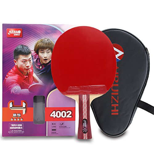 DHS 4Star 4002 Shake Hand Premium Table Tennis Racket Ping Pong Paddle Blade Inverted Rubber with Carry Case