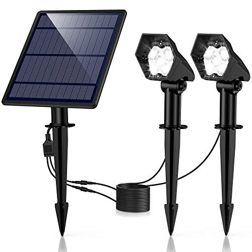 Solar Gartenleuchte Solar Strahler 2 Stück, Ultrahelle 3 Helligkeitsstufe IP65 Wasserdicht, Hocheffiziente Solar Panel Automatische EIN/Aus Solarlampe mit Erdspieß für Gärten, Bäume (Weiß)
