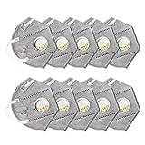 Likecrazy 10 Stück Staubdichte Mäske,Einweg-Arbeitsstaubmasken mit Ventil FFP3 Atemschutzgesicht Sicherheit Breathing Equip Augenschutz Staubmäske Winddichtes für Dunst 𝐌𝐀𝐒𝐊𝐄𝐍 (10PCS)