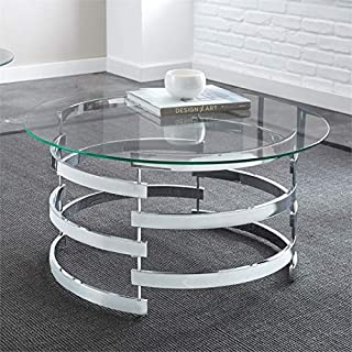 Steve Silver Tayside Round Glass Top Coffee Table in Chrome