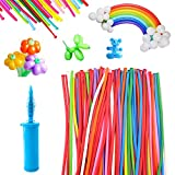 Maylai 100 Pack Balloons Animal with Double Action Pump Long Balloons Twisting Balloons for Party (Color-1)