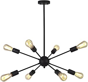VINLUZ 8-Light Sputnik Chandelier Black Mid Century Modern Ceiling Light Industrial Pendant Lighting for Kitchen Dining Room Living Room
