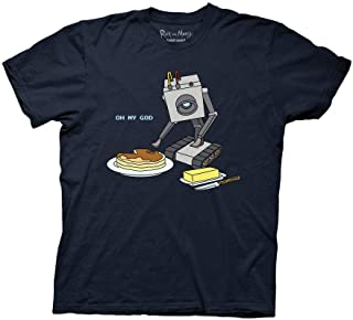 Ripple Junction Rick and Morty Adult Butter Bot with Pancakes Heavy Weight 100% Cotton Crew T-Shirt
