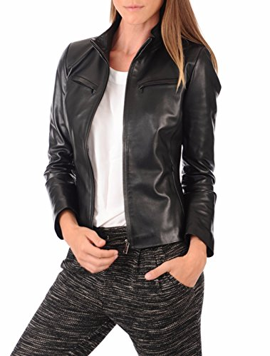 Womens Black Lambskin Leather Biker Bomber Jacket