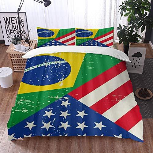 Qinniii 3 Teilig Bettgarnitur Bettwäsche,Amerikanische USA Brasilien Flagge,Gemütlich 3D Mikrofaser Bettbezug Set + 2 Kissenbezug 240 x 260 cm