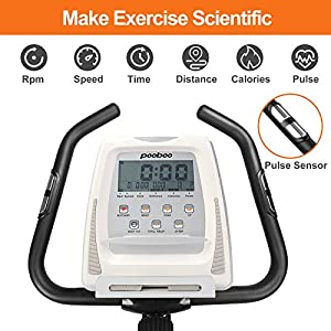 pooboo Magnetic Exercise Bike, Indoor Cycling Bike, Upright Bike, Quiet Belt Drive Indoor Cycling Bike With LCD Monitor and Adjustable Resistance for Home Cardio Workout