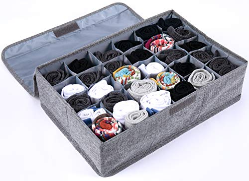 Uklay Underwear Drawer Organizer with Lid  30 Cell Sock Organizer Drawer Dividers Foldable Closet Storage Boxes for Underwear Socks Lingerie Ties  Grey