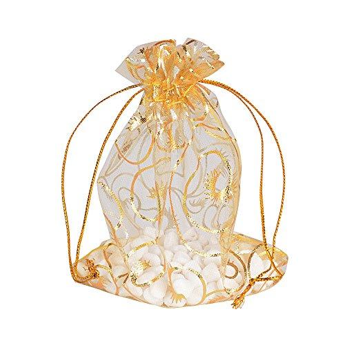 AONER 10x12cm 100(±2) Stück Organzasäckchen Gold Organza Beutel Organza Säckchen Schmucksäckchen Gastgeschenk Säckchen Weihnachten zum befüllen