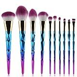 10 Pcs Unicorn Shiny Gold Diamond Makeup Brush Set Professional Foundation Blending Blush Eye Face Liquid Powder Cream Cosmetics Brushes (Blue)