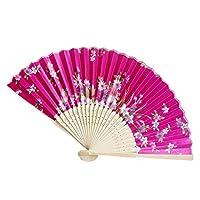 SHTSH 夏のヴィンテージ竹折りたたみハンドヘルド花のファン中国のダンスパーティーポケットギフト結婚式カラフルなドロップシッピング72 (Color : M)