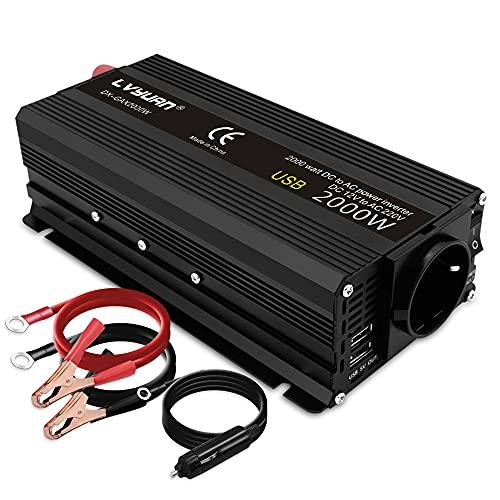 Yinleader Inversor de corriente (12 V, 230 V, 850 W, 2000 W, 12 V CA, 220 V, 2 USB)