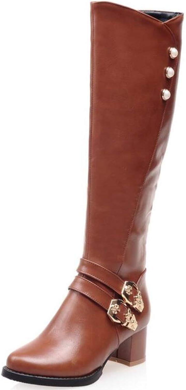 Damen Bequeme verzierte geschnürte Mid Chunky Heels Stiefel Side Zip Up Kniehohe Reiten Stiefelies Herbst und Winter Plus Samt Damenstiefel  | Billig ideal