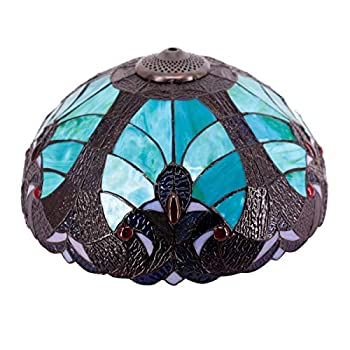 Tiffany Lamp Shade Replacement W16H7 Inch Green Stained Glass Liaison Lampshade for Table Lamps Floor Lamp Ceiling Fixture  3 Hooks Inside Pendant Hanging Light S558 WERFACTORY Home Office Decoration