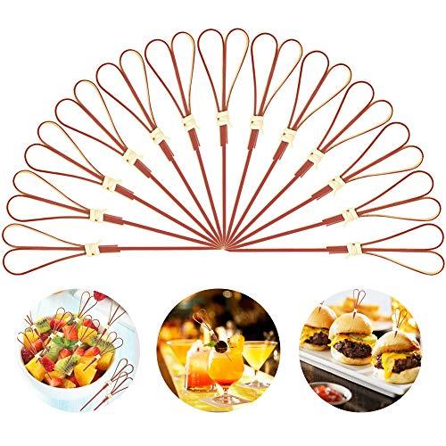 PMENOOR 100 Stück Cocktailspieße Bambus Spiesse 12 cm Multifunktional Fingerfood Spieße Obstspieße Einweg Cocktail Spieße Bambusspieße für Sandwiches, Kleine Snacks, Antipasti und Cocktails Rot