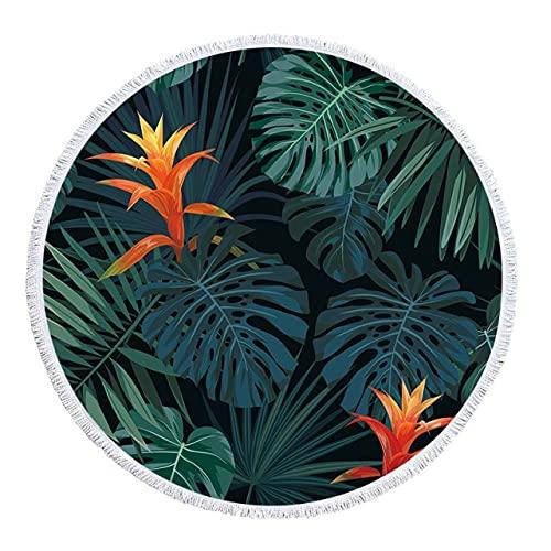 IAMZHL Toalla de Playa de Microfibra Strandlaken Plantas Toallas Florales Toallas de Microfibra de Verano Toalla de natación Manta-a5-Diameter 150cm