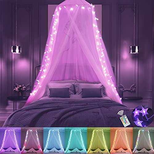 Obrecis Pink Bed Canopy for Girls, Princess Canopy Bed Curtain with Lights, 100LED Colors Changing Star String Lights Hanging Dome Bed Tent with Remote for Women Bedroom Decor, Twin to King Size Bed