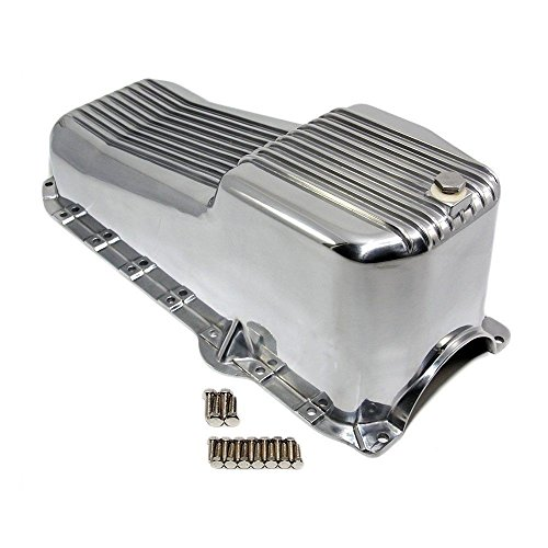 DEMOTOR PERFORMANCE For 80-85 SBC Chevy Retro Finned Polished Aluminum Oil Pan 305 350 Small Block