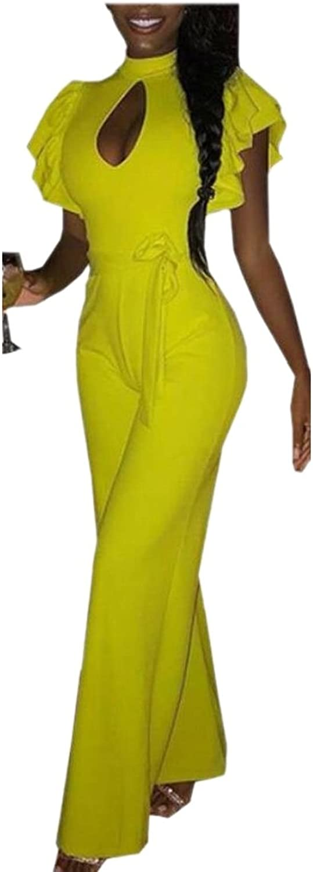 Generic Womens Ruffle Sleeve Keyhole Front Long Jumpsuit Romper