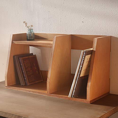 BREA-1713 木製 ブックスタンド 卓上 本棚 本立て (ブラウン)