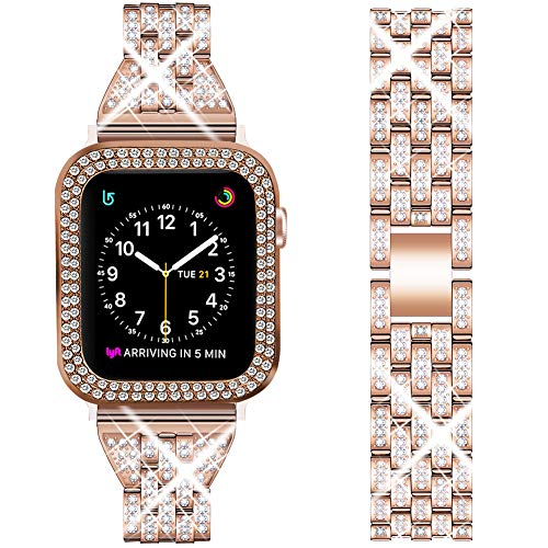DSYTOM Compatible Apple Watch Band 40mm with Case Women,Rhinestone Metal Jewelry Wristband Strap with Bling PC Protective Case Replacement for iWatch Series 3 2 1(Rose gold)