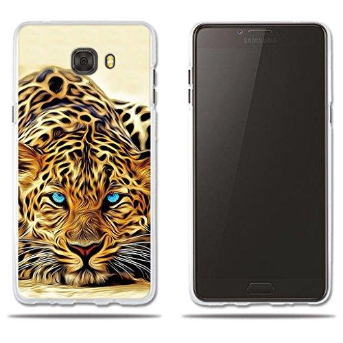 fubaoda Funda Samsung Galaxy C9 Pro Exótico Dibujo de un Leopardo de Ojos Azules,Amortigua los Golpes, Funda Protectora Anti-Golpes para Samsung Galaxy C9 Pro (6.0')