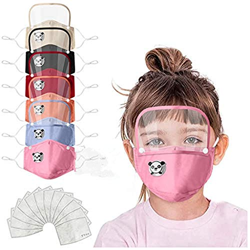 JSPOYOU Kids' Child Washable Reusable Face With Filter And Detachable Eye Shield
