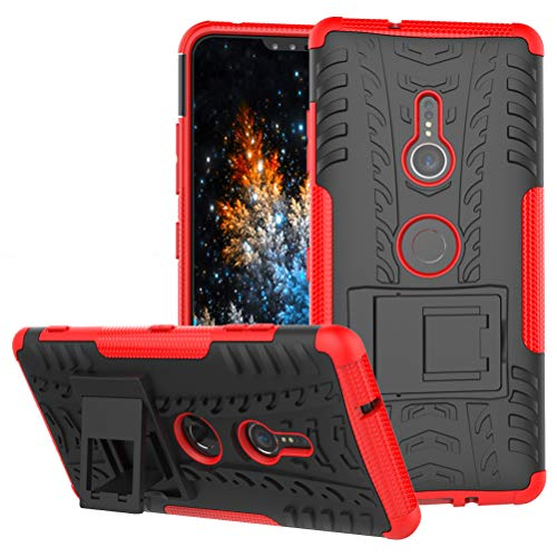 MRSTER Sony Xperia XZ3 Coque - Etui Housse Robuste Protection de Double Couche d'Armure Lourde Antichoc Housse avec Béquille pour Sony Xperia XZ3. Hyun Red