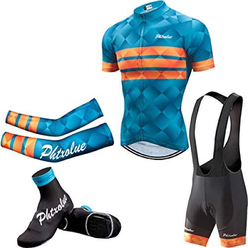 Sommer Fahrradanzug Herren Fahrradbekleidung Fahrradbekleidung Kurzarm Fahrradbekleidung Anzug-4 in 1_4XL