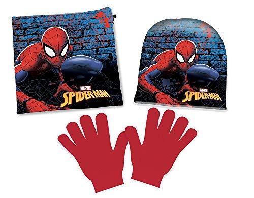 Marvel Spiderman Bambino set cappello scaldacollo guanti (54 Bambino)