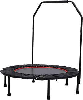 Seatopia 40 Trampoline Fitness with Adjustable Handrail Bar Portable Silent Bounce Cardio Workout Indoor Outdoor– Fun for Adults & Kids, Max Load 300 lbs