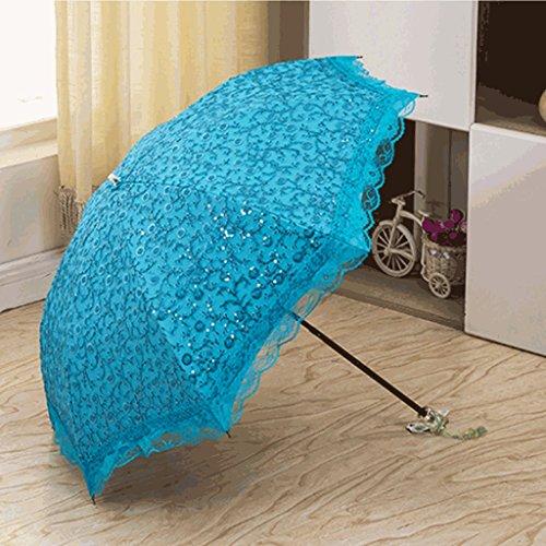 Queen Boutiques Paraguas Bordado a Mano fácil de Plegar, Paraguas de Encaje Doble Princesa, Paraguas de Dos Pliegues, protección Solar, protección UV, Impermeable y Resistente al Viento A