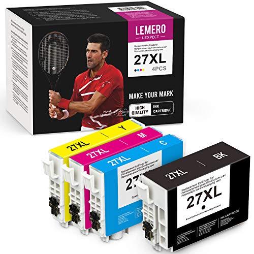LEMERO UEXPECT 27XL - Cartuchos de tinta de repuesto para Epson 27 27XL compatibles con Epson Workforce WF-3620 WF-3640 WF-7110 WF-7210 WF-7610 WF-7620 WF-7710 WF-7720 WF-7715 (4 unidades)