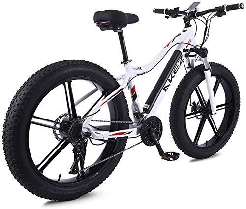 Bicicleta eléctrica de alta velocidad de 26 pulgadas, bicicleta de montaña para adultos con gran capacidad, batería de iones de litio de 36 V, 350 W, 10 Ah y tres modos de trabajo (color: blanco)