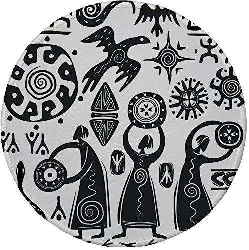 Rutschfreies Gummi-rundes Mauspad primitiv tanzender Schamane Adler Sonnenschlange Figur Prähistorische Höhle Zeichnung Stammes-Volksthema Schwarz Weiß 7.9