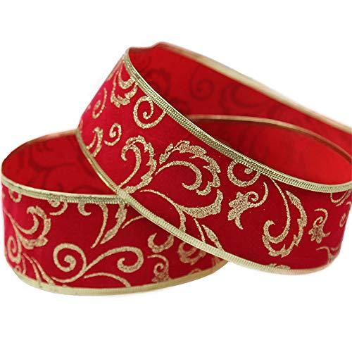 Luccichio Fiore Nastri Natalizi, Decorazioni Albero Di Natale, Carta Da Regalo, Oro Confine, Rosso, 10M(394')