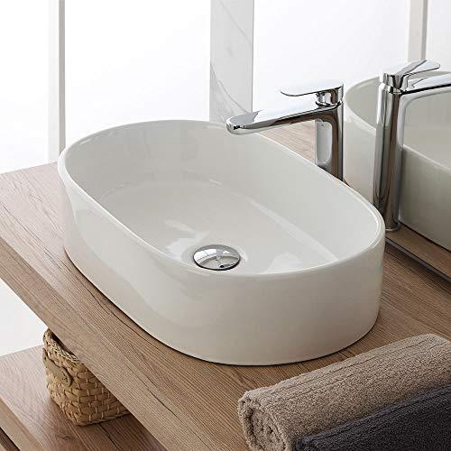 Inbagno Lavabo da Appoggio Bianco in Ceramica, 55,5 x 34,5 x h.14 cm, Lucido dal Design Moderno