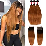 Haha Ombre Brazilian Straight Hair 3 Bundles with Closure 2 Tone 1B/30 Black to Medium Auburn 8A Ombre Brazilian Virgin Human Hair Weave Bundles with Lace Closure Ombre Hair Extensions 16 18 20+14