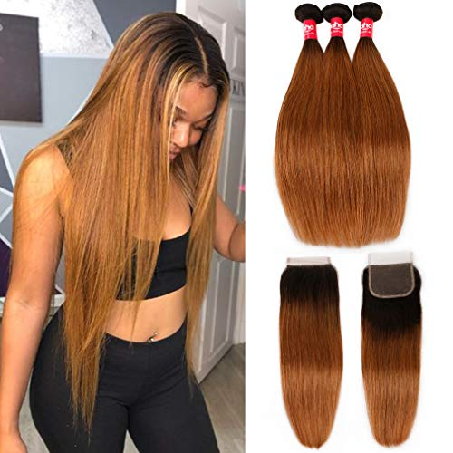 Haha Ombre Brazilian Straight Hair 3 Bundles with Closure 2 Tone T1B/30 Black to Medium Auburn 8A Ombre Brazilian Virgin Human Hair Weave Bundles with Lace Closure Ombre Hair Extensions 16 18 20+14