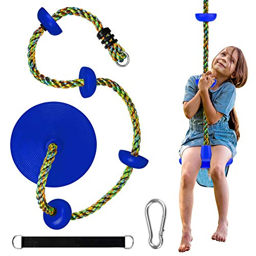 Tree Climbing Rope and Kids Disc Swing Seat Set Outdoor Inside Backyard Playground Play Equipment Hanging Strap & Carabiner (Blue)