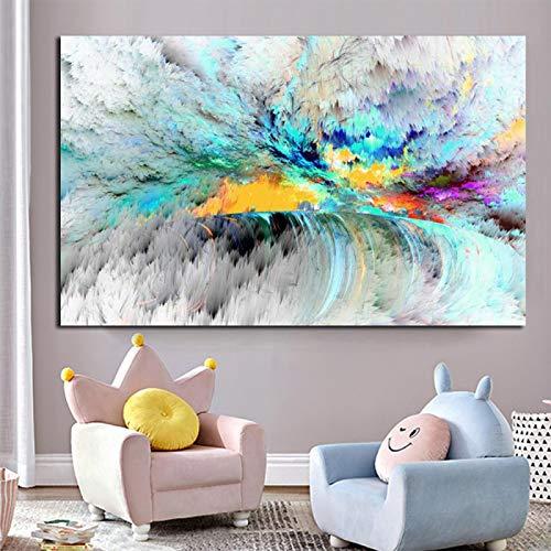 Arte de la pared Nube azul Pintura al óleo abstracta Un mar en calma Imagen de la pared para la decoración de la sala de estar Lienzo Arte moderno Póster e impresión 40x60cm Sin marco