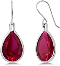 Gem Stone King Sterling Silver Red Created Ruby Dangle Earrings 18.20 cttw Pear Shape 16X12MM