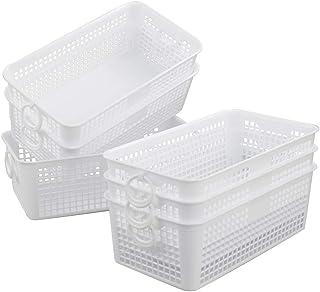 Dynko Plastique Blanc Panier de Rangement, Lot de 6 Organiseur Paniers