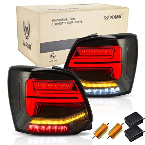 VLAND Rückleuchten für POLO MK5 6R 6C 2009-2018 LED Lightbar Heckleuchten,mit Dynamik Blinker,Mit E-Prüfzeichen,LED Technik Rücklichter,Geräuchert,LHD