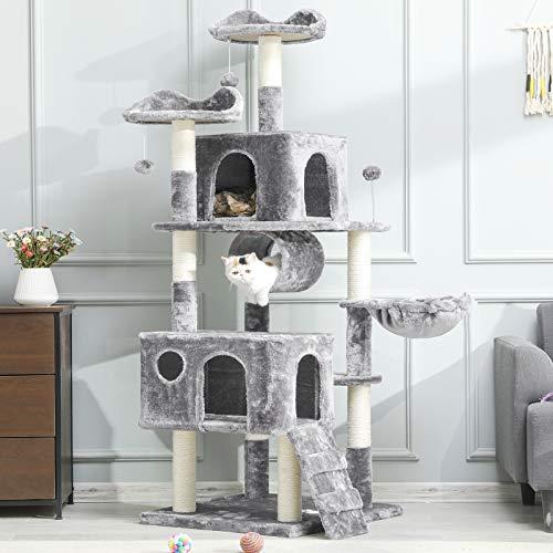 MSmask Kratzbaum groß, 175cm Kletterbaum für große Katzen, XXL Katzenbaum, Stabiler Kratzbaum Grosse Katzen mit Höhlen Sisal-Kratzstangen (Hellgrau)