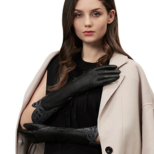 GSG Ladies Stylish Winter Warm Genuine Leather Elbow Gloves Arm Warmer Dress Gloves Womens Party Evening Accessory Nice Gifts Brown 7.5