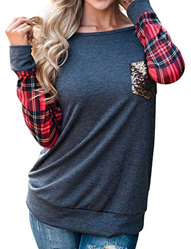 Naliya Women Pullover Sweaters Round Neck Plaid Long Sleeve Sequin Pocket Shirt Tops Blouse