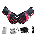 Battery Heated Gloves for Women, Five Fingers Hand Warmer, Waterproof Rechargeable Thermal Warmspace Glove for Climbing Hiking Cycling Skating Walking Driving Hunting
